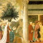 Adorazione del Sacro Legno ed incontro della Regina di Saba con Re Salomone, Affresco di Piero della Francesca, Leggenda della Vera Croce, San Francesco, Arezzo. No Copyright