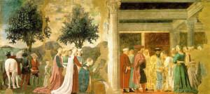 La adoración del Árbol Sagrado por la reina de Saba y El encuentro entre Salomón y la reina de Saba, Fresco de Piero della Francesca, la leyenda de la Vera Cruz, San Francesco, Arezzo. No Copyright