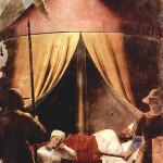 Sogno di Costantino, L'angelo si rivela di notte a Costantino, Affresco di Piero della Francesca, Leggenda della Vera Croce, San Francesco, Arezzo. No Copyright