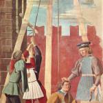 Supplizio dell'Ebreo, Giuda torturato nel pozzo, Affresco di Piero della Francesca, Leggenda della Vera Croce, San Francesco, Arezzo. No Copyright