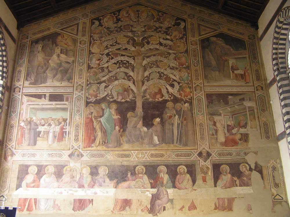 Última Cena de Taddeo Gaddi, la Basílica de Santa Croce. Autor y Copyright Marco Ramerini