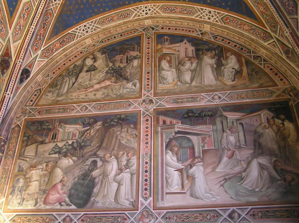 Gli affreschi di Spinello Aretino (1387 circa) con scene della vita di San Benedetto. Sacrestia della Basilica di San Miniato al Monte, Firenze. Author and Copyright Marco Ramerini