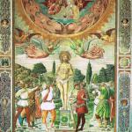 Martyrdom of St. Sebastian, work of Benozzo Gozzoli, Duomo di San Gimignano. No Copyright