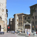 Piazza della Cisterna, San Gimignano, Siena.  Author and Copyright Marco Ramerini,