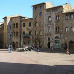 Piazza della Cisterna, San Gimignano, Siena.  Author and Copyright Marco Ramerini.