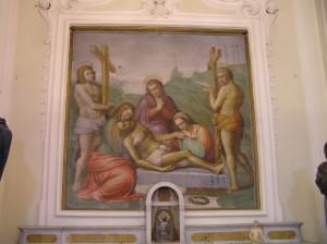 Fresque attribuée à Michel-Ange Buonarroti, Église de Santa Maria, Marcialla, Barberino Val d'Elsa, Florence. Auteur et Copyright Marco Ramerini