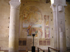 Fresco del siglo XVI por Vincenzo Tamagni, Abbadia a Isola, Monteriggioni, Siena. Autor y Copyright Marco Ramerini