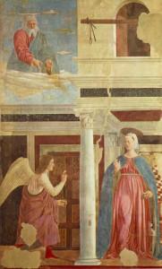 Annunciazione, Affresco di Piero della Francesca, Leggenda della Vera Croce, San Francesco, Arezzo. No Copyright