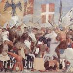 Battaglia di Eraclio e Cosroe, Sconfitta e decapitazione di Cosroe, Affresco di Piero della Francesca, Leggenda della Vera Croce, San Francesco, Arezzo. No Copyright