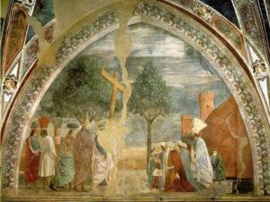 Esaltazione della Croce, Il ritorno della Croce a Gerusalemme, Affresco di Piero della Francesca, Leggenda della Vera Croce, San Francesco, Arezzo. No Copyright