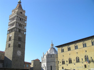 The bell tower of the Duomo and the Baptistery, Pistoia. Author and Copyright Marco Ramerini