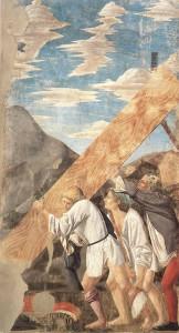 Il trasporto del Legno Sacro, Innalzamento del Legno, Affresco di Piero della Francesca, Leggenda della Vera Croce, San Francesco, Arezzo. No Copyright