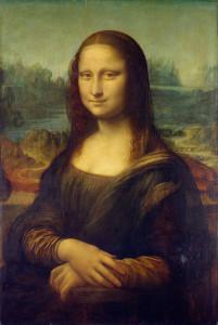 La Gioconda, Leonardo da Vinci. Sullo sfondo Leonardo Da Vinci dipinse il tipico paesaggio delle Balze del Valdarno. No Copyright