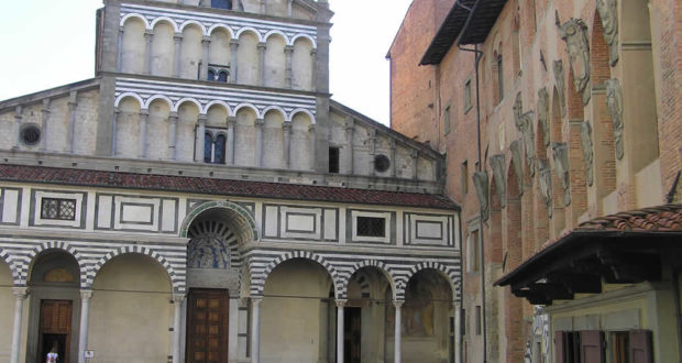 The facade of the Cathedral of Pistoia. Author and Copyright Marco Ramerini