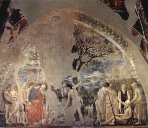 Morte di Adamo, Adamo morente e Seth incontra l'arcangelo Michele, Affresco di Piero della Francesca, Leggenda della Vera Croce, San Francesco, Arezzo. No Copyright
