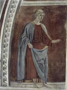 Profeta Ezechiele, Affresco di Piero della Francesca, Leggenda della Vera Croce, San Francesco, Arezzo. No Copyright