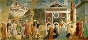 Ritrovamento e verifica della Vera Croce, Affresco di Piero della Francesca, Leggenda della Vera Croce, San Francesco, Arezzo. No Copyright