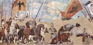 Vittoria di Costantino, Battaglia di Ponte Milvio, Affresco di Piero della Francesca, Leggenda della Vera Croce, San Francesco, Arezzo. No Copyright