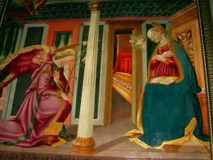 L'Annonciation (1471), Église de Santa Lucia al Borghetto, Tavarnelle Val di Pesa, Florence. No Copyright