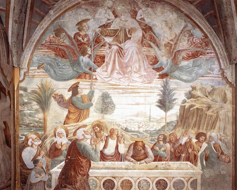 Affresco Assunzione della Vergine di Benozzo Gozzoli. Cappella della Madonna della Tosse. Museo BEGO, Castelfiorentino