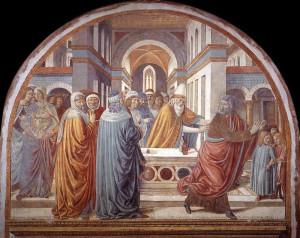 Affresco Espulsione di Gioacchino dal Tempio di Benozzo Gozzoli. Tabernacolo della Visitazione. Museo BEGO, Castelfiorentino