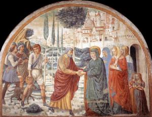 Affresco Incontro alla Porta Aurea di Benozzo Gozzoli. Tabernacolo della Visitazione. Museo BEGO, Castelfiorentino