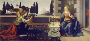 Annunciazione, Leonardo da Vinci, Galleria degli Uffizi, Firenze