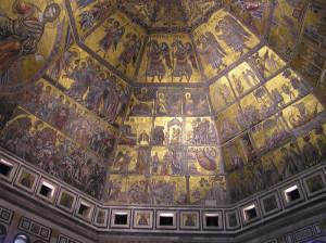 Cori angelici dei mosaici della Cupola del Battistero di San Giovanni, Firenze, Italia. Author and Copyright Marco Ramerini.