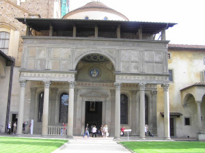 Facciata, Cappella de' Pazzi, Basilica di Santa Croce, Firenze. Author and Copyright Marco Ramerini