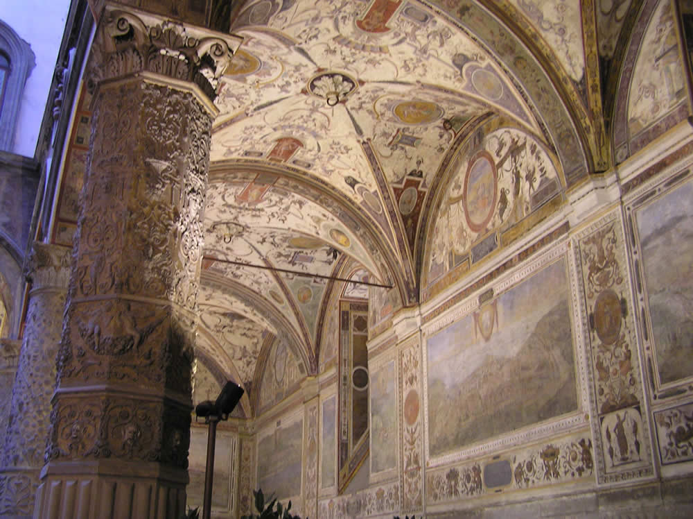 Paintings of the courtyard of Palazzo Vecchio, Florence. Author and Copyright Marco Ramerini