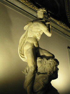 Il Genio della Vittoria di Michelangelo, Salone dei Cinquecento, Palazzo Vecchio, Firenze, Italia. Author and Copyright Marco Ramerini