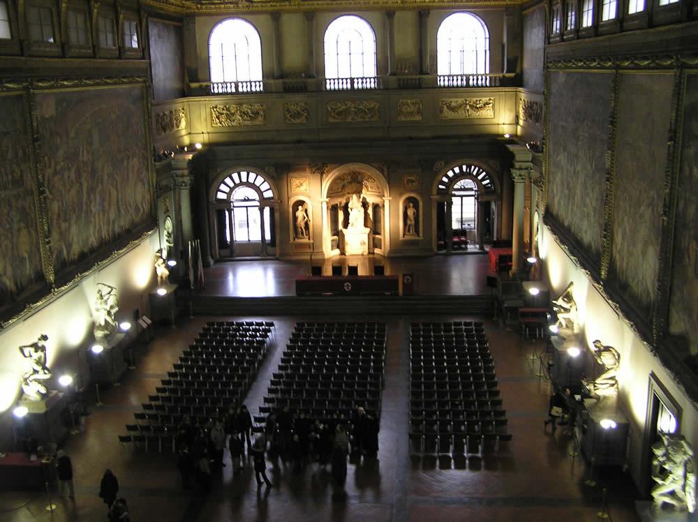 Il Salone dei Cinquecento, Palazzo Vecchio, Firenze, Italia. Author and Copyright Marco Ramerini.