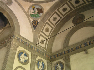 Interno, Cappella de' Pazzi, Basilica di Santa Croce, Firenze. Author and Copyright Marco Ramerini.