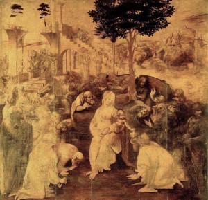 L'Adorazione dei Magi, Leonardo da Vinci, Galleria degli Uffizi, Firenze