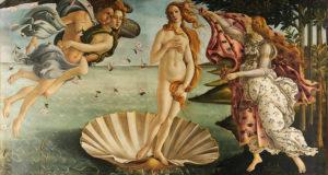 El nacimiento de Venus, Sandro Botticelli, Galería Uffizi, Florencia