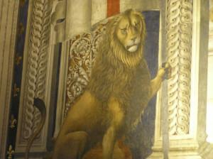 Marzocco, affresco di Domenico Ghirlandaio, Sala dei Gigli, Palazzo Vecchio, Firenze. Author and Copyright Marco Ramerini