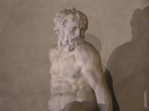 Particolare della statua di Sansone e il Filisteo di Pierino da Vinci, nipote di Leonardo (1530-1553). Palazzo Vecchio, Firenze, Italia. Author and Copyright Marco Ramerini