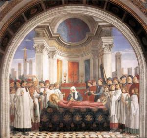 Domenico Ghirlandaio, les funérailles de Saint-Fina, chapelle de Santa Fina, San Gimignano, Sienne. No Copyright