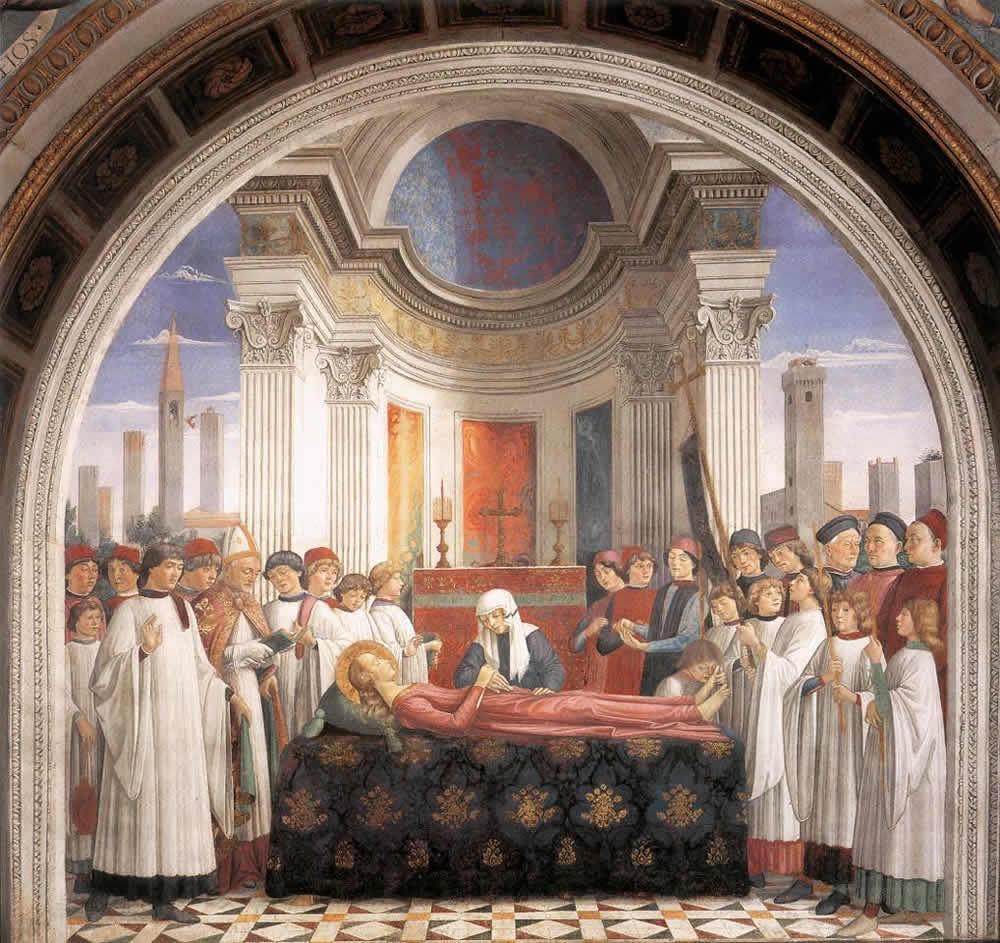 Domenico Ghirlandaio, die Beerdigung von St. Fina, Kapelle von Santa Fina, San Gimignano, Siena. No Copyright