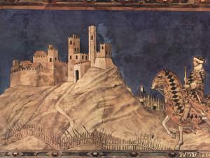 Particolare dell'affresco 'Guidoriccio da Fogliano, Capitano dei senesi, si reca all'assedio di Montemassi' di Simone Martini. Palazzo Pubblico, Siena. No Copyright