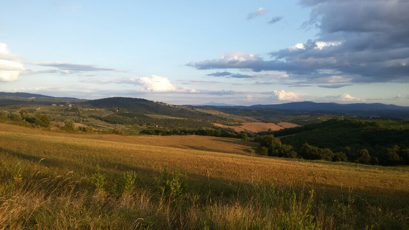 Paesaggio nei pressi delle Montigliane, verso San Filippo con sullo sfondo il Monte Amiata. Autore Marco Ramerini