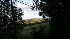 Veduta verso San Gimignano. Via Francigena da Gambassi a San Gimignano