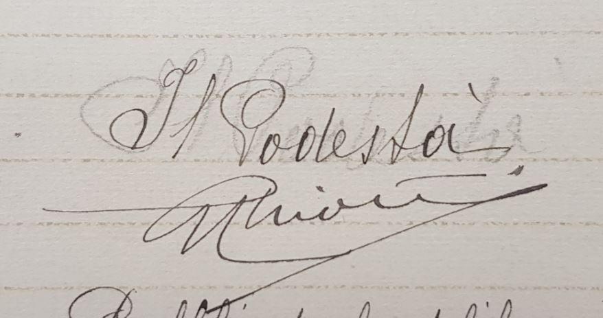 Firma del Chiostri nel registro del Consiglio Comunale