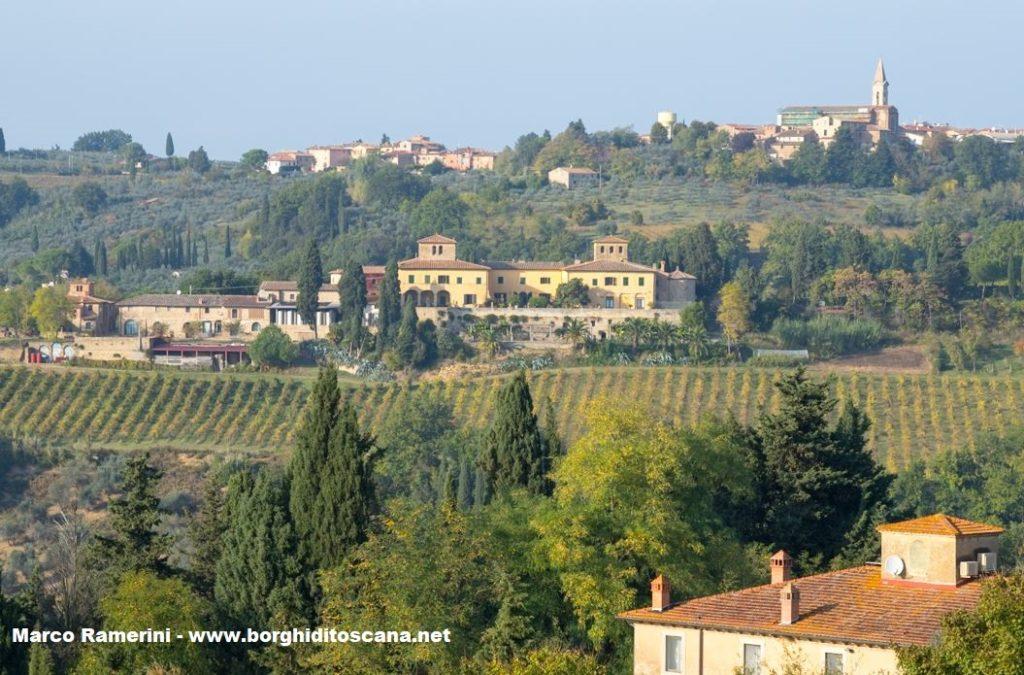 La villa fattoria di Spoiano e la chiesa del Borghetto a Tavarnelle Val di Pesa. Autore e Copyright Marco Ramerini