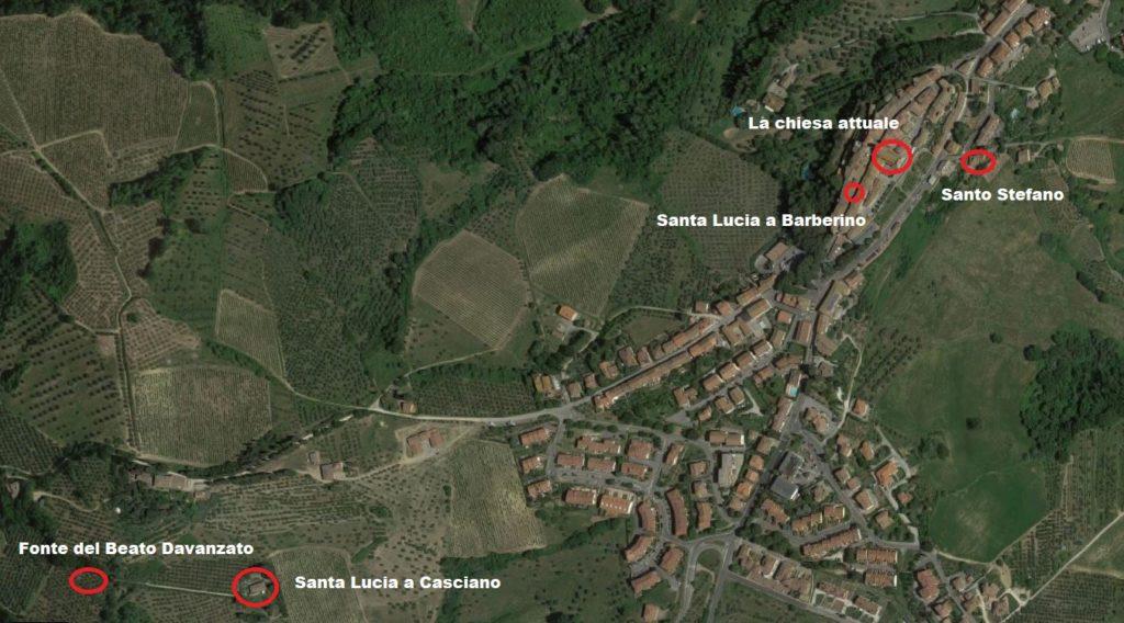Mappa delle chiese scomparse di Barberino