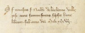 La dicitura di Francesco di Ser Nardo nel Codice Trivulziano. Milano presso la Biblioteca Trivulziana