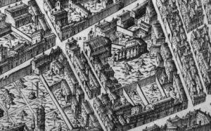 La chiesa di San Paolino nella Pianta del Buonsignori (Nova pulcherrimae civitatis Florentiae topographia accuratissime delineata) del 1584.