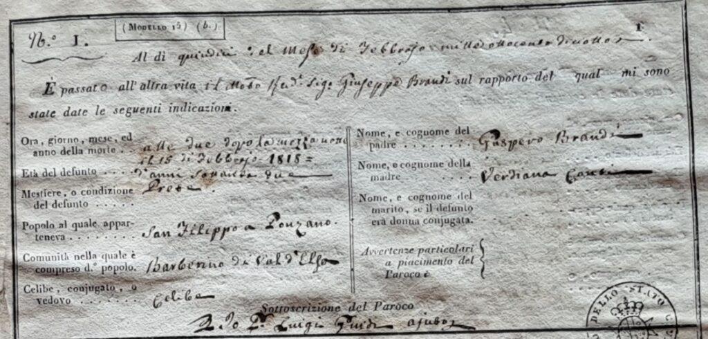 L'atto di morte del parroco Giuseppe Brandi del 15 febbraio 1818.