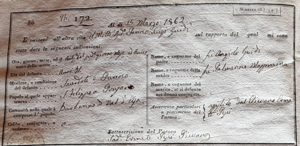L'atto di morte del parroco Luigi Guidi del 15 marzo 1862.