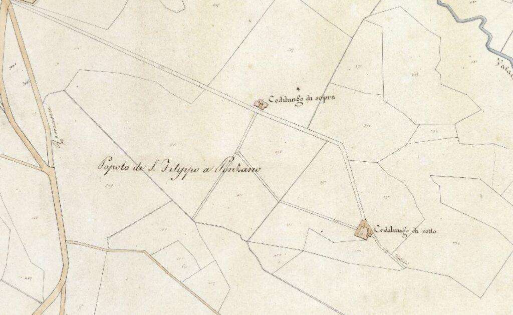 La mappa dei due poderi Codilungo. Mappa del nuovo catasto del Granducato di Toscana, 1820-1830. Progetto C A S T O R E - Regione Toscana e Archivi di Stato toscani.